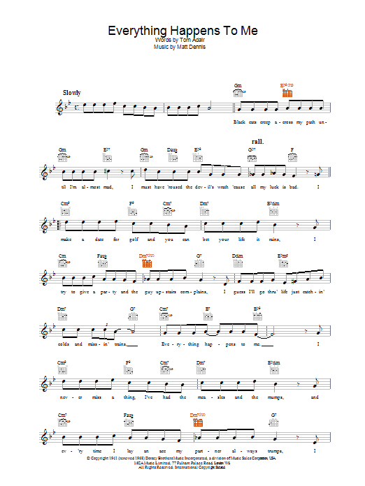 Everything Happens To Me Sheet Music