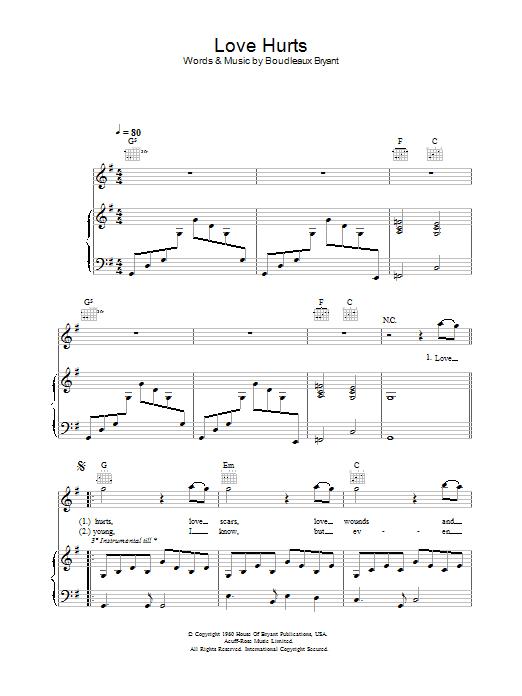 Love Hurts Sheet Music Nazareth Piano Vocal Guitar