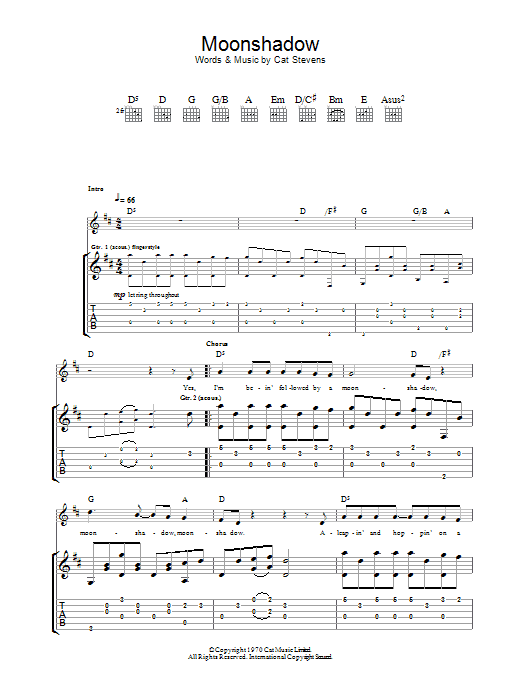 Moonshadow Chords Images - finger placement guitar chord chart