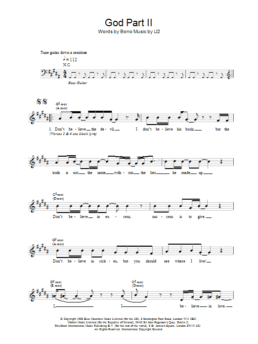 God Part II Sheet Music