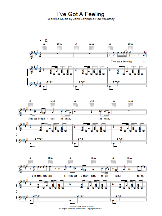 I've Got A Feeling (Piano, Vocal & Guitar)