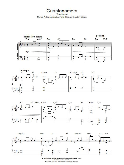Guantanamera (Piano Solo)