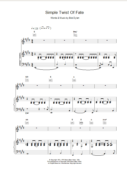 Simple Twist Of Fate Sheet Music