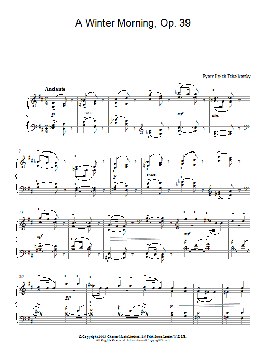 A Winter Morning, Op. 39 (Piano Solo)