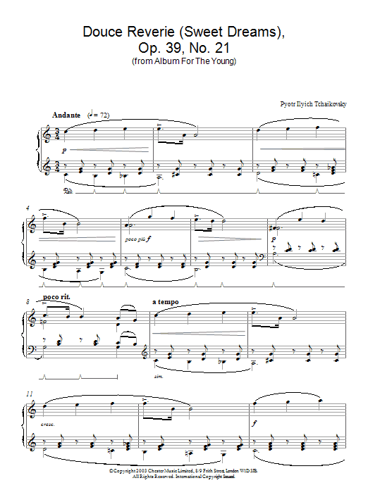 Douce Reverie (Sweet Dreams), Op. 39, No. 21 (from Album For The Young) Sheet Music