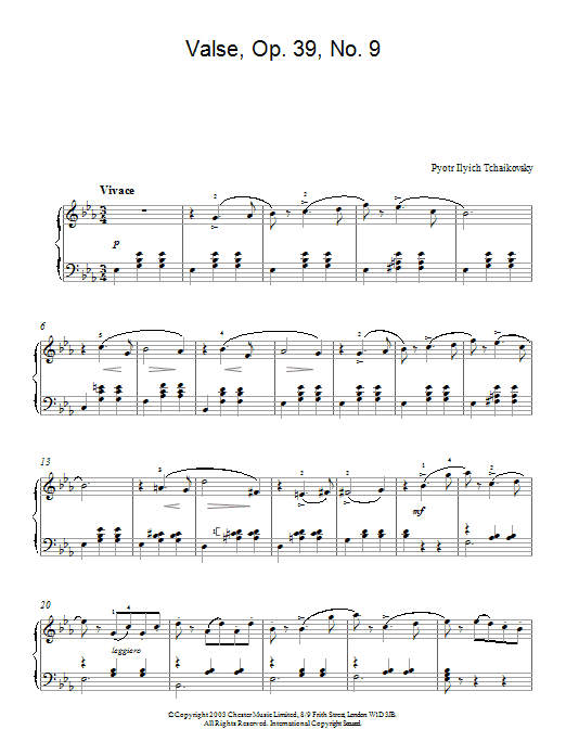 Valse, Op. 39, No. 9 (from Album For The Young) Sheet Music