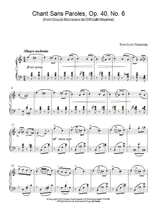 Chant Sans Paroles Op 40 No 6 From Douze Morceaux De Difficulté