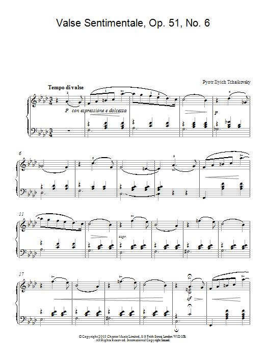 valse sentimentale tchaikovsky piano pdf