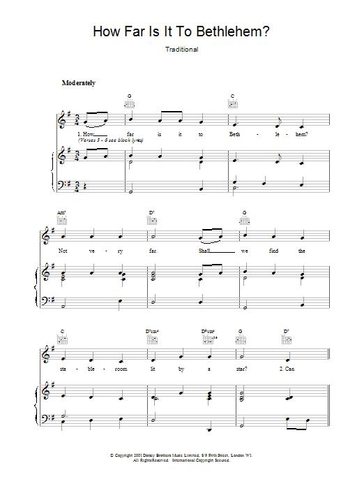 How Far Is It To Bethlehem? Sheet Music