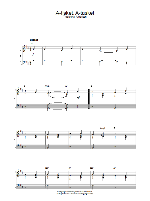 A-Tisket, A-Tasket (Piano Solo)