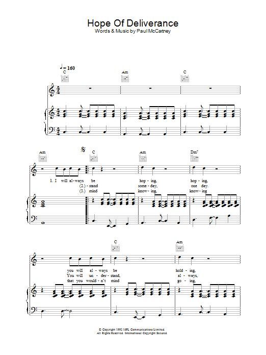 Hope Of Deliverance Sheet Music