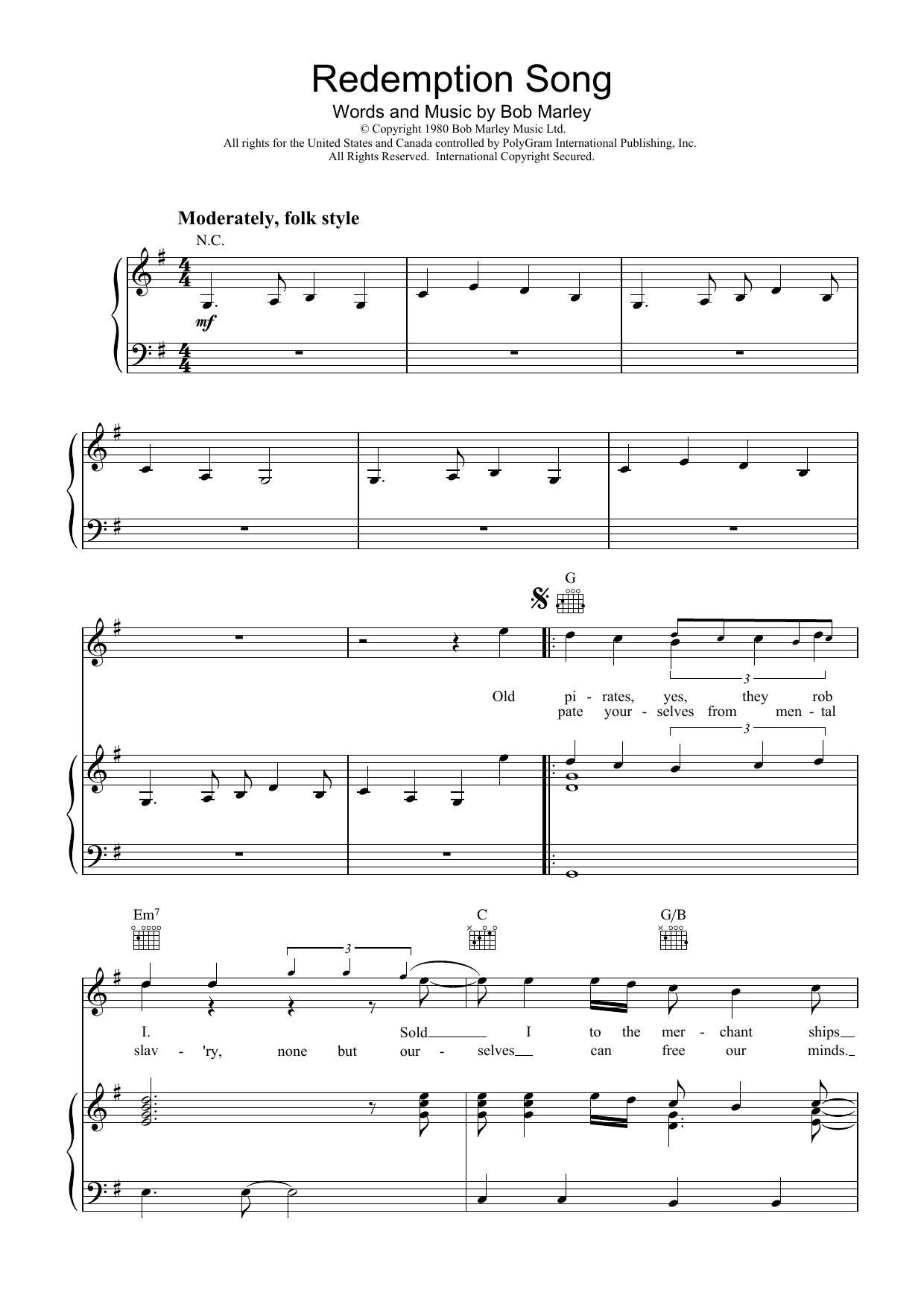Bob Marley - Redemption Song atStanton's Sheet Music