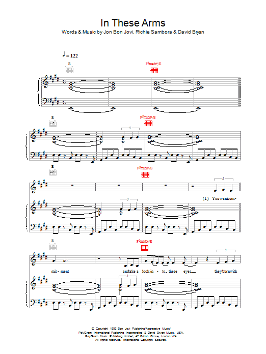 In These Arms Sheet Music