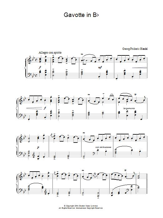 Gavotte in B Flat Sheet Music