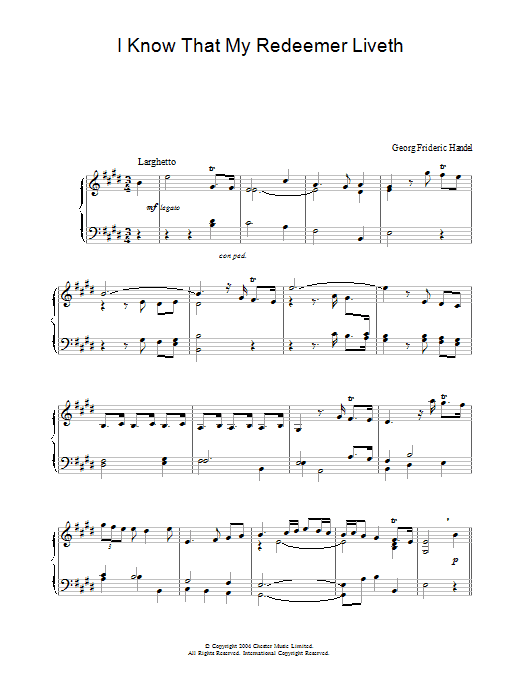 I Know That My Redeemer Liveth (from Messiah) Sheet Music