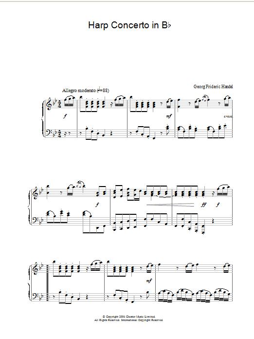Harp Concerto in B Flat Sheet Music