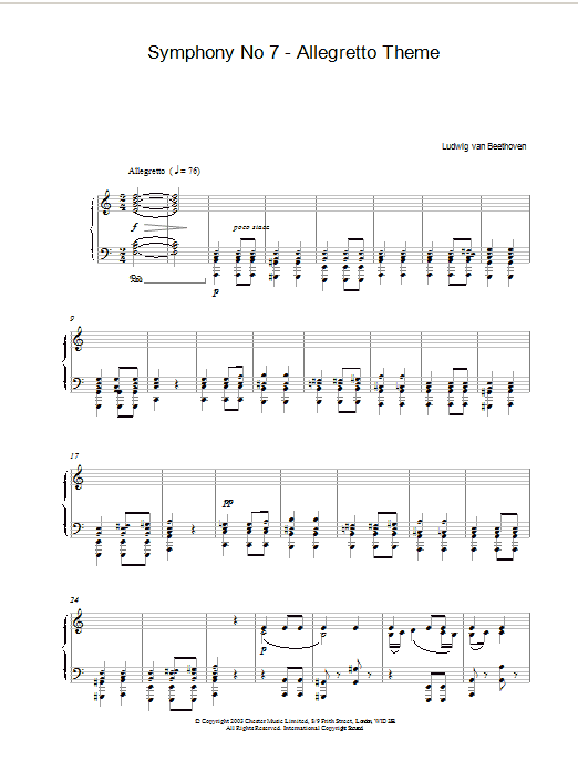 Symphony No. 7 - Allegretto Theme (Piano Solo)