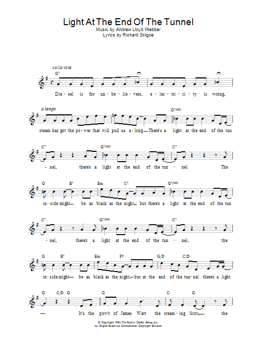 Light At The End Of The Tunnel (from Starlight Express) Sheet Music