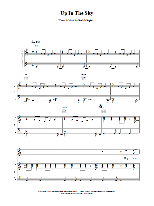 Up In The Sky Sheet Music