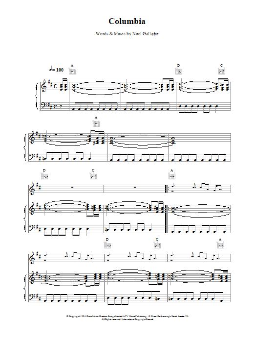 Columbia Sheet Music