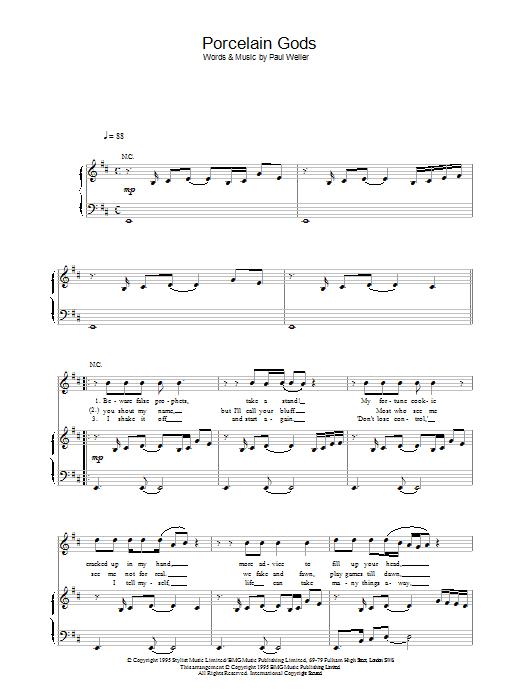 Porcelain Gods (Piano, Vocal & Guitar)