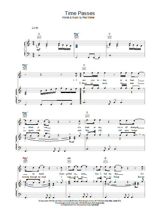 Time Passes (Piano, Vocal & Guitar)