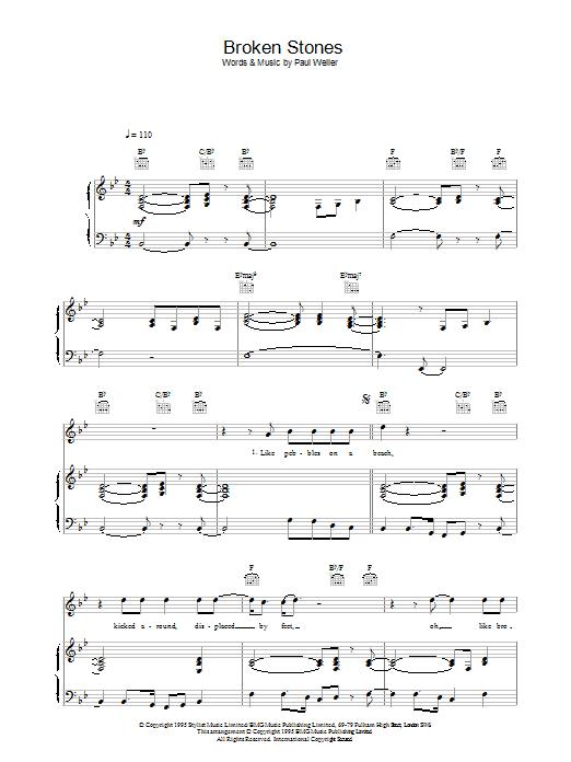 Broken Stones (Piano, Vocal & Guitar)