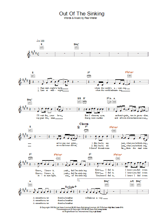 Out Of The Sinking Sheet Music