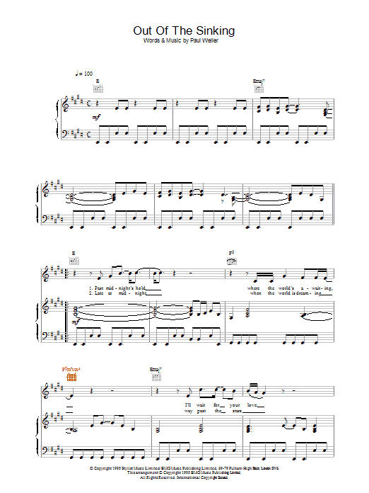 Out Of The Sinking (Piano, Vocal & Guitar)
