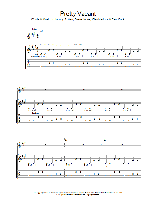 Pretty Vacant Sheet Music