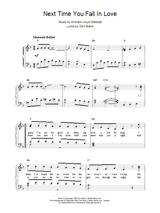 Next Time You Fall In Love (from Starlight Express) Sheet Music