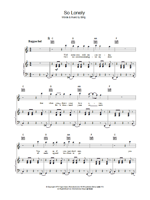 So Lonely Sheet Music