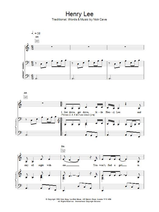 Henry Lee Sheet Music