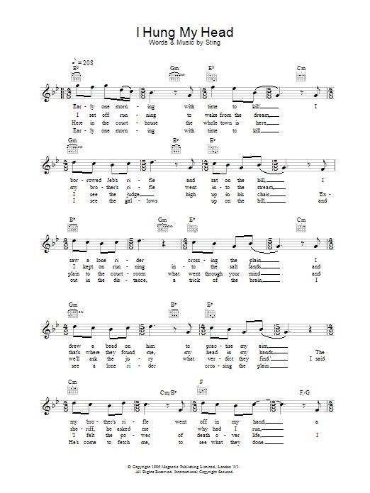 I Hung My Head Sheet Music Sting Melody Line Lyrics Chords
