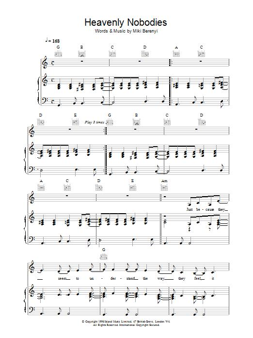 Heavenly Nobodies Sheet Music