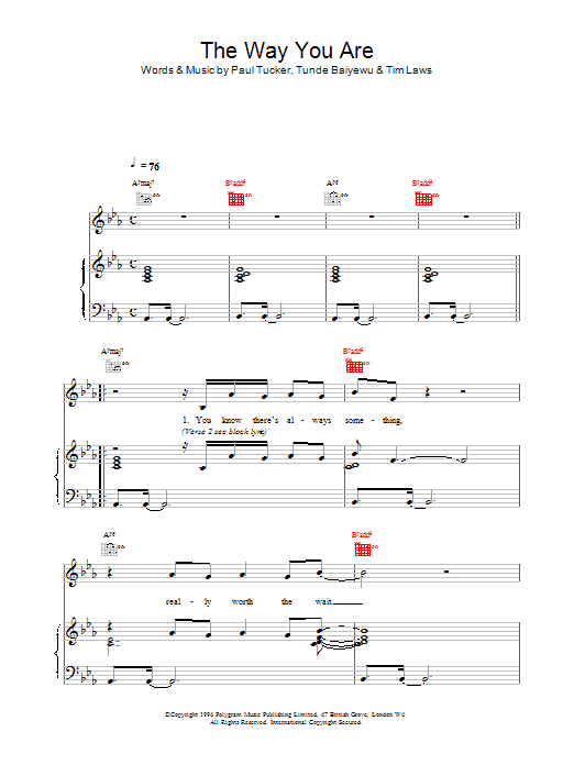 The Way You Are Sheet Music