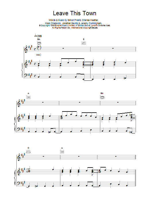 Leave This Town Sheet Music