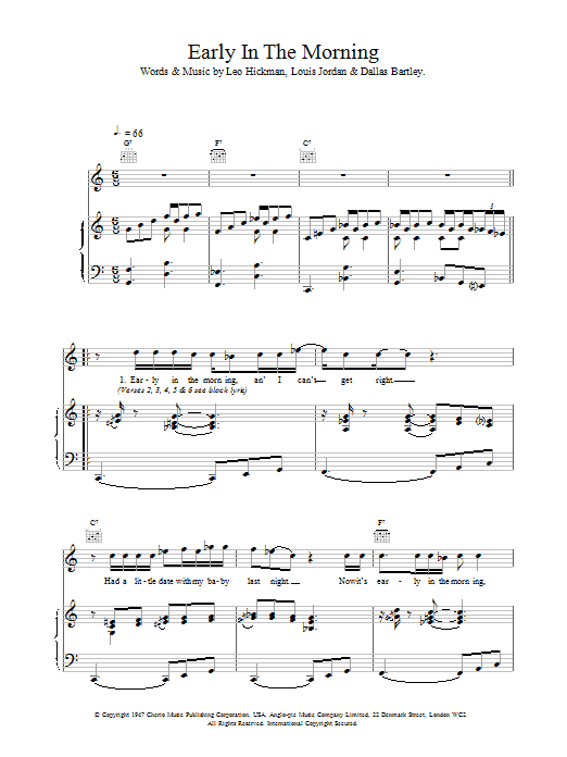 Early In The Morning Sheet Music