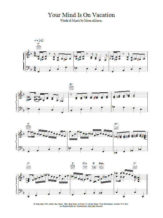 Your Mind Is On Vacation Sheet Music
