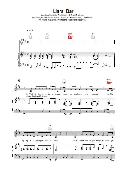 Liar's Bar Sheet Music