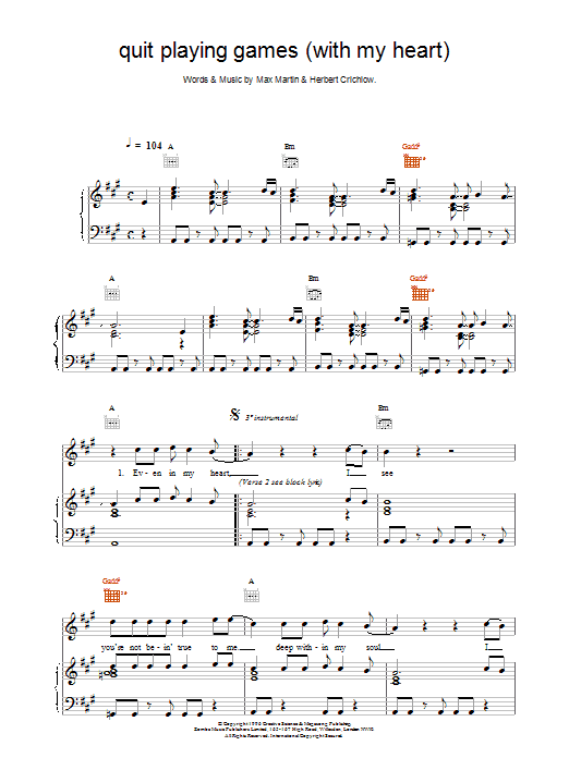Quit Playing Games (With My Heart) Sheet Music