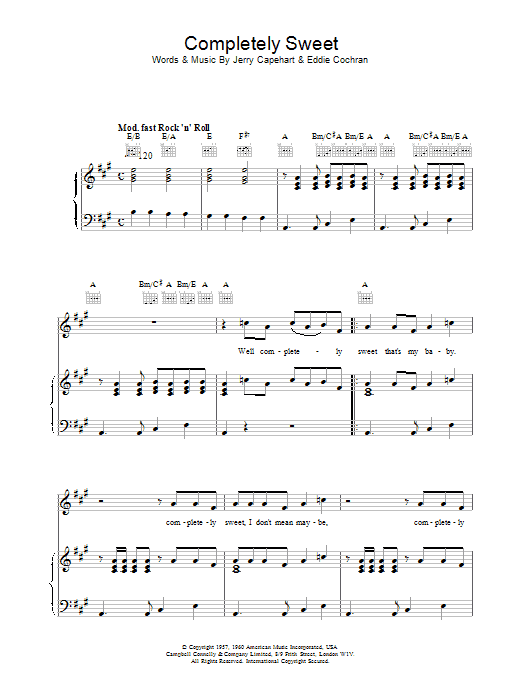 Completely Sweet Sheet Music