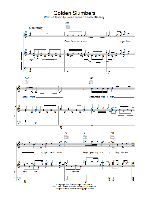 Golden Slumbers Sheet Music