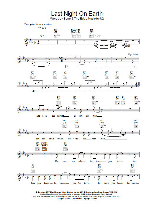 Last Night On Earth Sheet Music