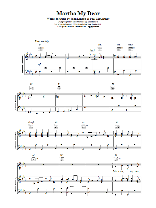 Martha My Dear Sheet Music