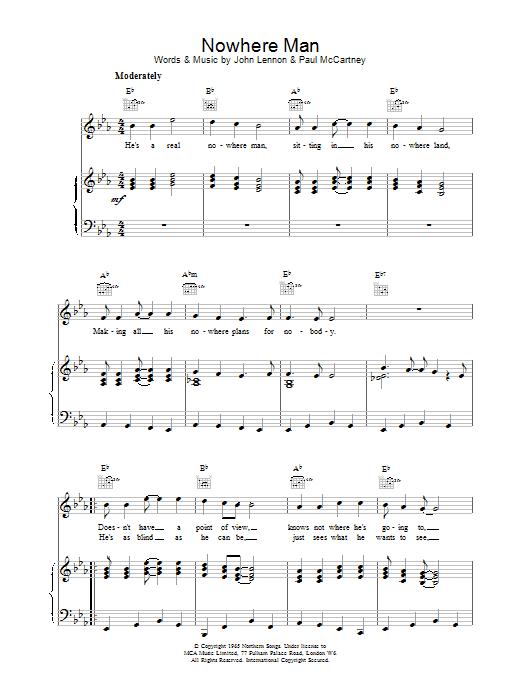 Nowhere Man Sheet Music