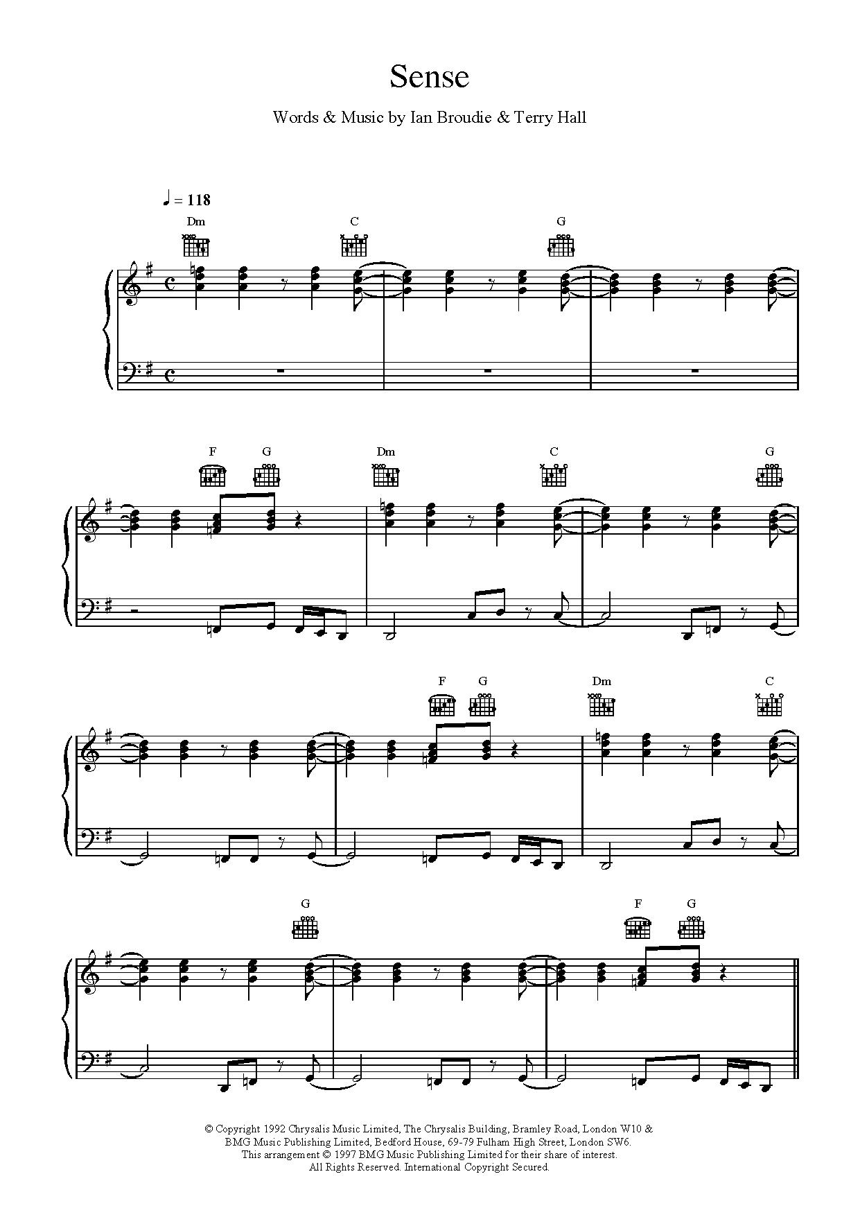 Sense Sheet Music