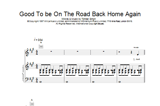 Good To Be On The Road Back Home Again Sheet Music