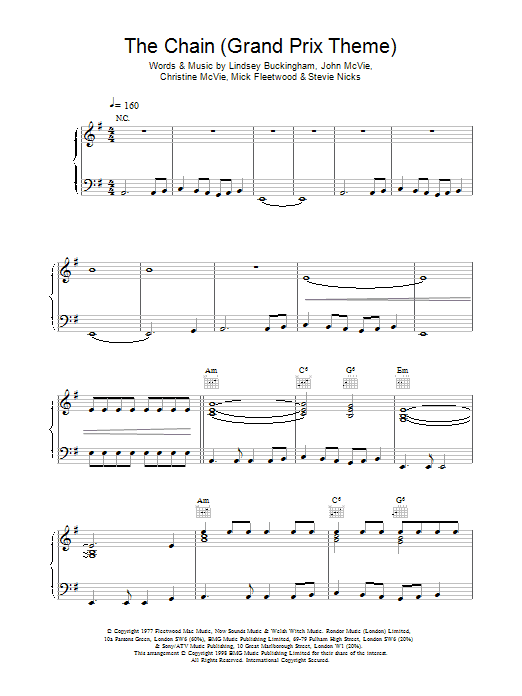 The Chain (extract) - Grand Prix Theme Sheet Music