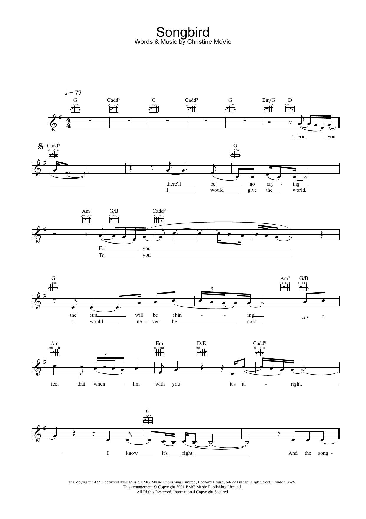 Songbird (Lead Sheet / Fake Book)